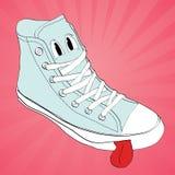 传染媒介运动鞋字符动画片设计 库存图片