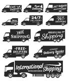 传染媒介送货业务标签、商用车和交付 免版税库存图片