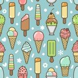 传染媒介逗人喜爱的五颜六色的冰淇凌无缝的样式 库存照片