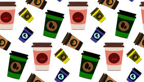 传染媒介逗人喜爱的咖啡杯无缝的样式 免版税图库摄影
