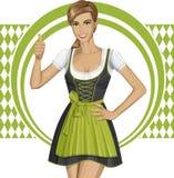 传染媒介逗人喜爱的妇女在慕尼黑啤酒节的Drindl 免版税库存照片