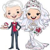 传染媒介逗人喜爱的新娘和新郎 库存照片