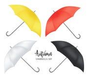 传染媒介遮阳伞,雨伞遮光罩集合 圆的色的嘲笑  免版税库存照片