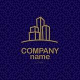 传染媒介都市大厦公司和工业企业的商标设计 库存图片