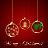 传染媒介金子装饰圣诞节贺卡 库存照片