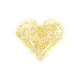 传染媒介金子闪烁心脏 爱概念卡片 免版税库存照片