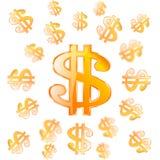 传染媒介金美元标志 免版税库存照片