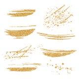 传染媒介金被设置的油漆污迹 金子在白色背景的闪烁元素 金发光的油漆冲程 抽象金子闪烁尘土 库存图片