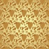 传染媒介金黄无缝的样式用葡萄和 库存图片