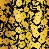 传染媒介金黄黑花开花和服无缝的样式背景 库存例证