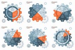 传染媒介链轮钝齿轮圈子infographic集合 免版税图库摄影