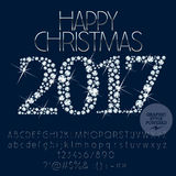 传染媒介闪耀的愉快的圣诞节2017年贺卡 向量例证