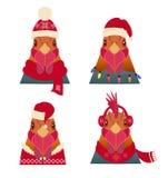 传染媒介雄鸡头集合 动画片样式,在冬天,圣诞节衣物 库存照片