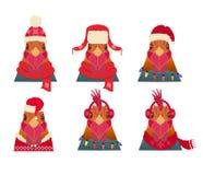 传染媒介雄鸡头集合 动画片样式,在冬天,圣诞节衣物 图库摄影