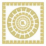 传染媒介集合传统葡萄酒金黄正方形和圆的希腊装饰品河曲和花卉样式在黑背景 库存图片