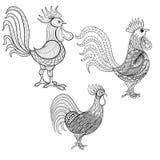 传染媒介集合公鸡,雄鸡,新年2017年标志, zentangle圆顶 库存图片