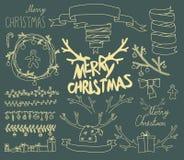 传染媒介集合圣诞节书法设计元素 图库摄影