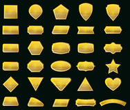 传染媒介集合形状和金标签消息的 免版税库存图片