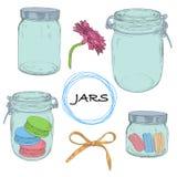 传染媒介集合手拉的瓶子 与j的葡萄酒五颜六色的例证 免版税库存照片