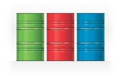 传染媒介集合颜色钢桶 库存照片