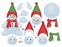 传染媒介雪人模板,做拥有雪人 免版税库存照片
