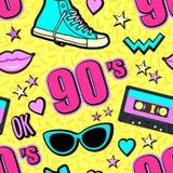 传染媒介霓虹流行音乐背景80s, 90s 向量例证