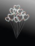 传染媒介音乐笔记和气球心脏 免版税库存图片