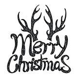 传染媒介题字圣诞快乐 标题 用手画 字法 词 信函 大写字母 乱画 免版税库存图片