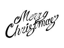 传染媒介题字圣诞快乐 标题 用手画 字法 免版税图库摄影