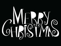 传染媒介题字圣诞快乐 标题 用手画 免版税库存照片