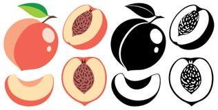 传染媒介颜色和黑白照片桃子 库存图片