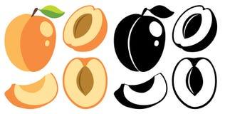 传染媒介颜色和黑白照片桃子 库存照片