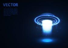 传染媒介飞碟 黑暗的光 蓝色发光 空间 抽象外籍人背景 库存照片
