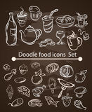 传染媒介食物在粉笔板集合的菜单元素 皇族释放例证