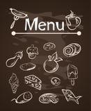 传染媒介食物在粉笔板集合的菜单元素 库存照片