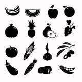 传染媒介食物黑色象集合 免版税图库摄影