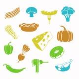 传染媒介食物黑色象集合 免版税库存图片