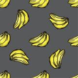 传染媒介香蕉无缝的样式 现代纹理 重复不尽的抽象手拉的背景 库存照片