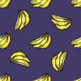 传染媒介香蕉无缝的样式 现代纹理 库存照片