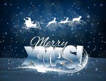 传染媒介驯鹿和圣诞老人蓝色背景的 库存照片