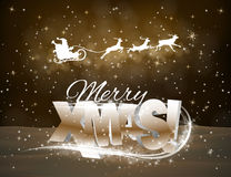 传染媒介驯鹿和圣诞老人黄色背景的 免版税库存图片