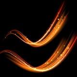 传染媒介魔术发光的火花漩涡足迹 Bokeh闪烁光波 免版税图库摄影