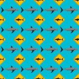 传染媒介鲨鱼无缝的样式 免版税库存图片