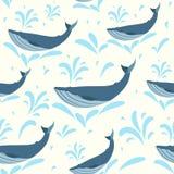 传染媒介鲸鱼例证 印刷品或网的游泳的逗人喜爱的鲸鱼无缝的背景 鲸鱼样式 图库摄影