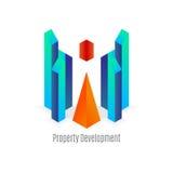 传染媒介:与几何形状, R的抽象企业大厦商标 皇族释放例证