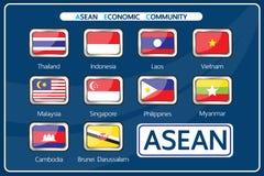 传染媒介:东南亚国家联盟经济共同体的成员 免版税库存照片