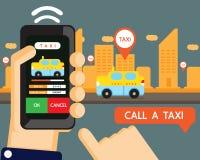 传染媒介:出租汽车应用 免版税库存照片