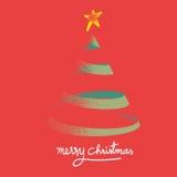 传染媒介:圣诞树葡萄酒样式在红色背景的与 向量例证