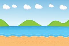 传染媒介:海滩动画片 库存图片