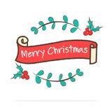 传染媒介:葡萄酒圣诞快乐在乱画样式o的丝带横幅 皇族释放例证